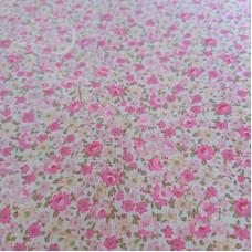 Ditsy Pink & Lemon flowers  poly-cotton
