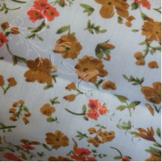 .70cm Ditsy Brown Flowers on white poly-cotton