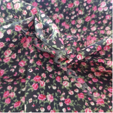 Ditsy Pink Roses on Black  poly-cotton