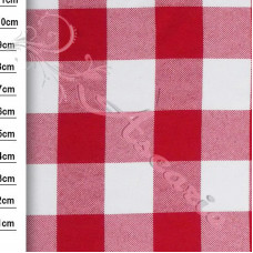 """1.3m Red 1"""" Gingham 100% Polyester"""