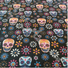 Skulls & Flowers on Black PolyCotton