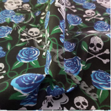 Skulls with Blue Roses  PolyCotton