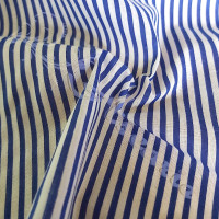 Royal Blue Candy Narrow Stripe Polycotton