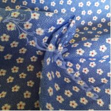 Ditsy Spot Flowers on Blue  Polycotton